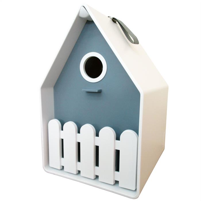 LANDHAUS Bird house - bleu antique/blanc