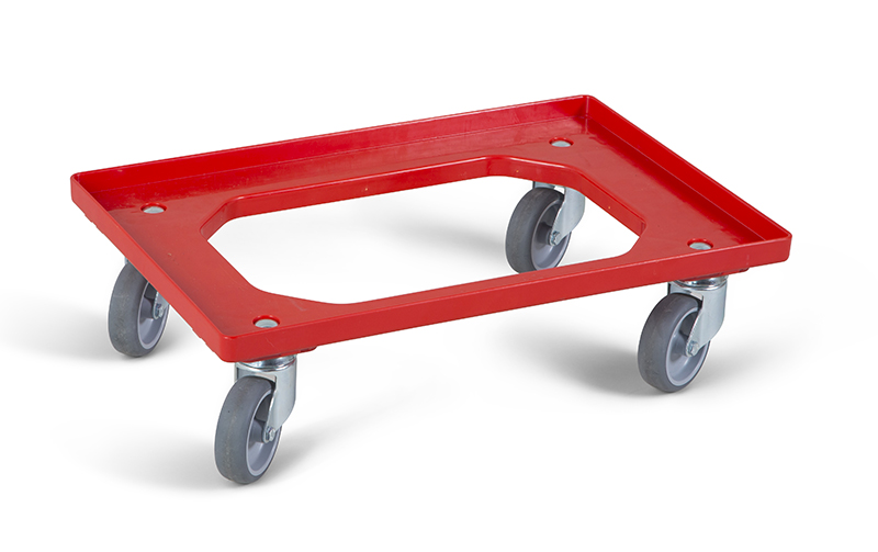 Chariot Dolly 4 roues pivotantes rouge