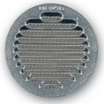 Grille ronde metal brut + moust. 120mm