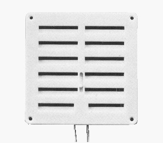 Grille carree blanc. a ferm. 160x160mm