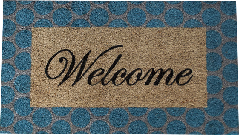 Paillasson Coco Welcome bleu cl. 40x70cm