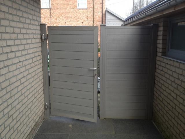 Porte cran de jardin gris 1 8m rubrique planchette for Porte de jardin pvc